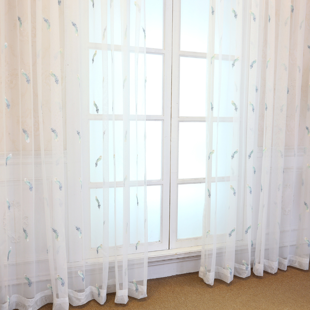 Fancy Blue Feather Embroidered Voile Curtains Living Room the ...