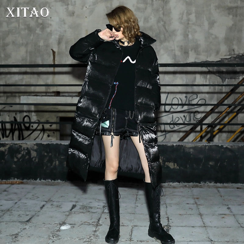 [XITAO] Women 2018 Autumn Korea Fashion Stand Collar Full Sleeve Loose Coat Female Print Letter Long Pocket   Parka   LYH1436