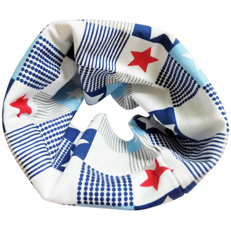 Новинка; Модный хлопковый шарф для маленьких девочек; осенне-зимний шарф для маленьких мальчиков; Детский шарф с круглым вырезом; Детские шарфы; волшебный шейный платок - Цвет: Blue Star