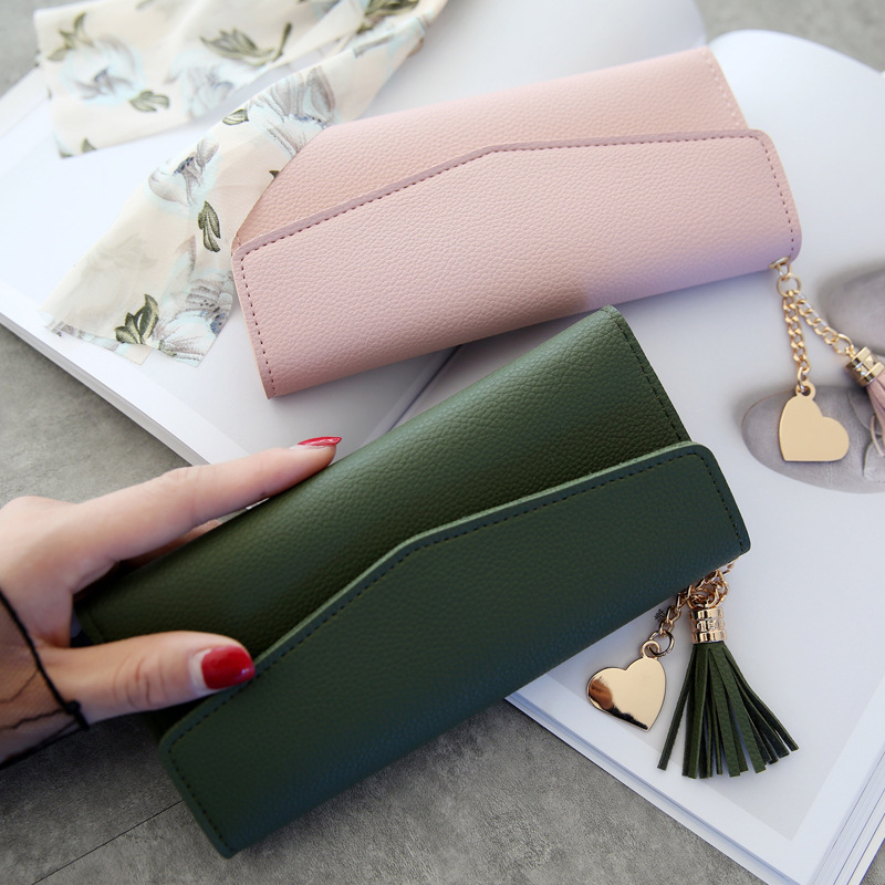 все цены на Coin Purses Leather Wallets Women Long Tassel Clutch Phone Wallets Female Credit Card Holder Money Bags