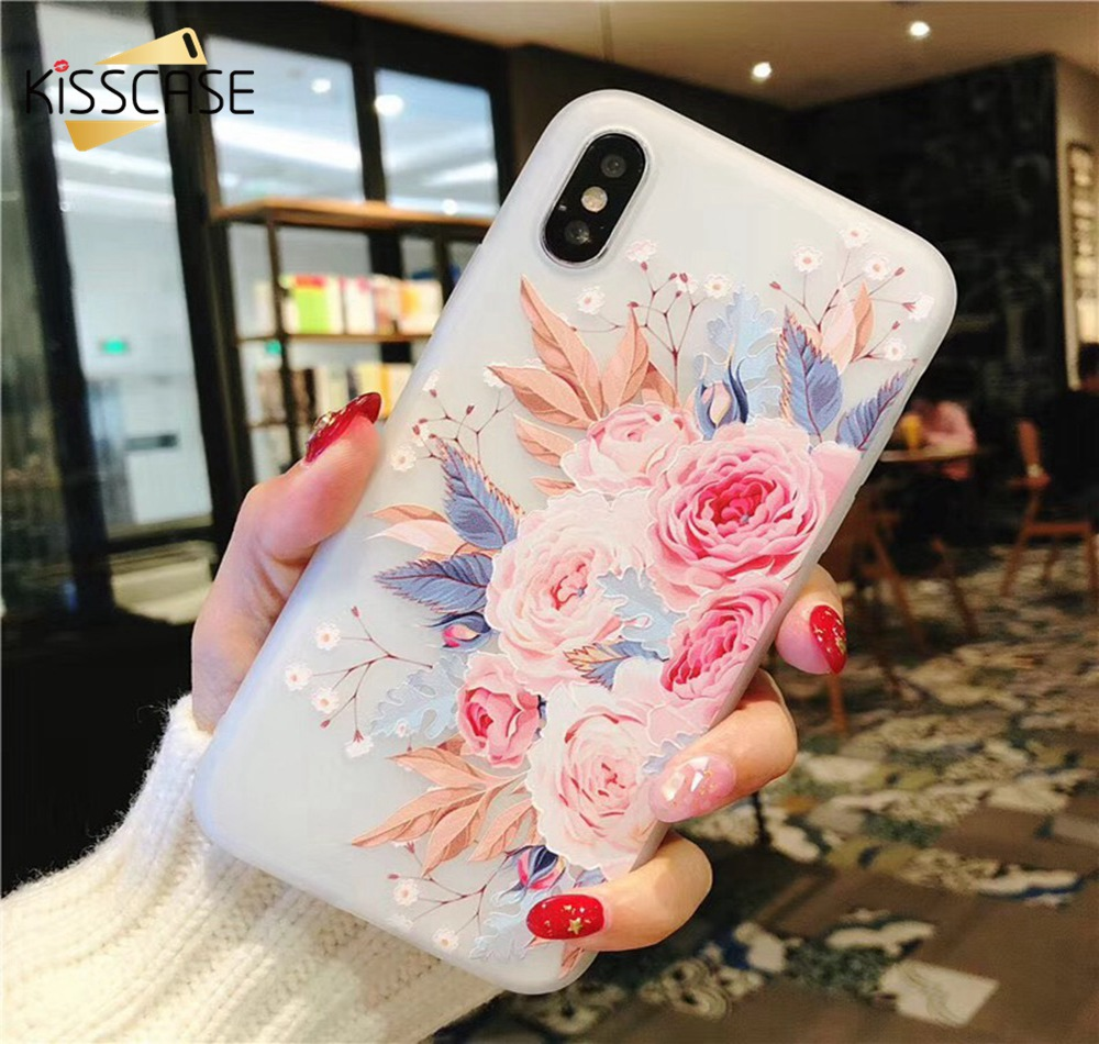 KISSCASE-Case-For-iPhone-X-8-8-Plus-3D-Relief-Soft-Silicone-Blossoming-Flowers-Case-For(7)