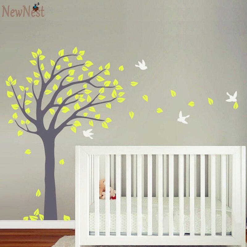 Nursery Tree Wall Decal Vinyl Sticker   Blowing Summer Tree Wall Sticker  With Flying Birds Huge