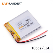 10pcs /Lot 3.7v lithium Li ion polymer rechargeable battery 334348 700mah for MP5 DVR GPS Toy Sound card
