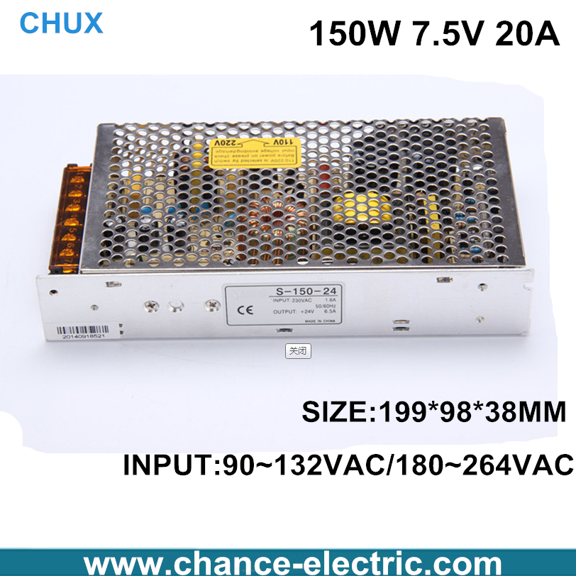 150W 7.5V 20A Single Output Switching power supply for LED Strip light AC to DC S-150-7.5v single output dc 24v 25a 600w switching power supply for led light strip 110v 240v ac to dc24v smps with cnc electrical equipmen