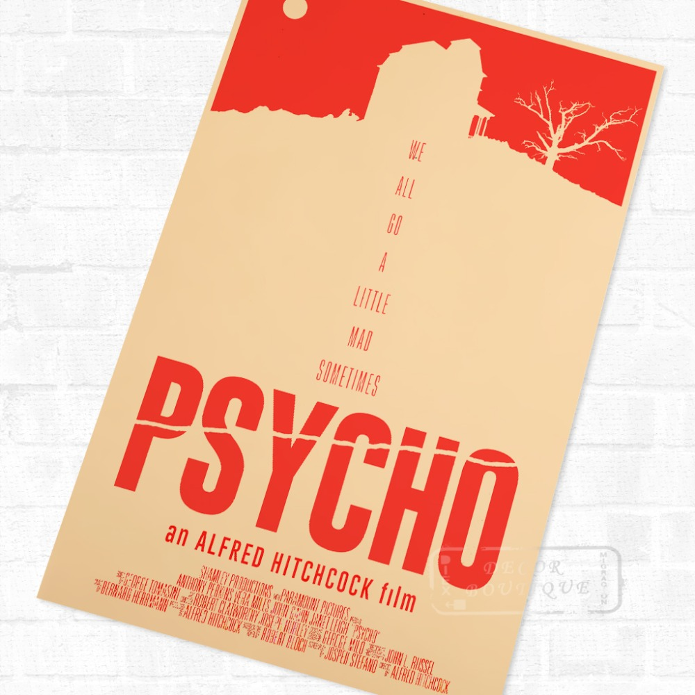 A4 sizes Alfred Hitchcock Psycho Vintage Movie Large Poster A1 A3 A2