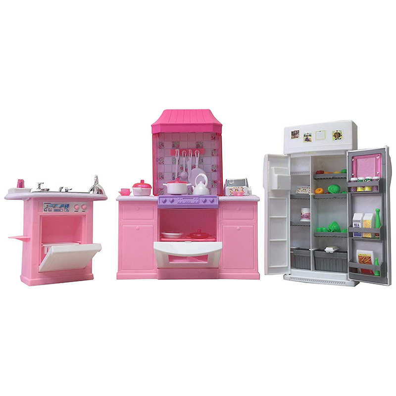 New Deluxe Kitchen Set for Barbie Furniture Dress Up Doll Accessories DIY Toy for Girl