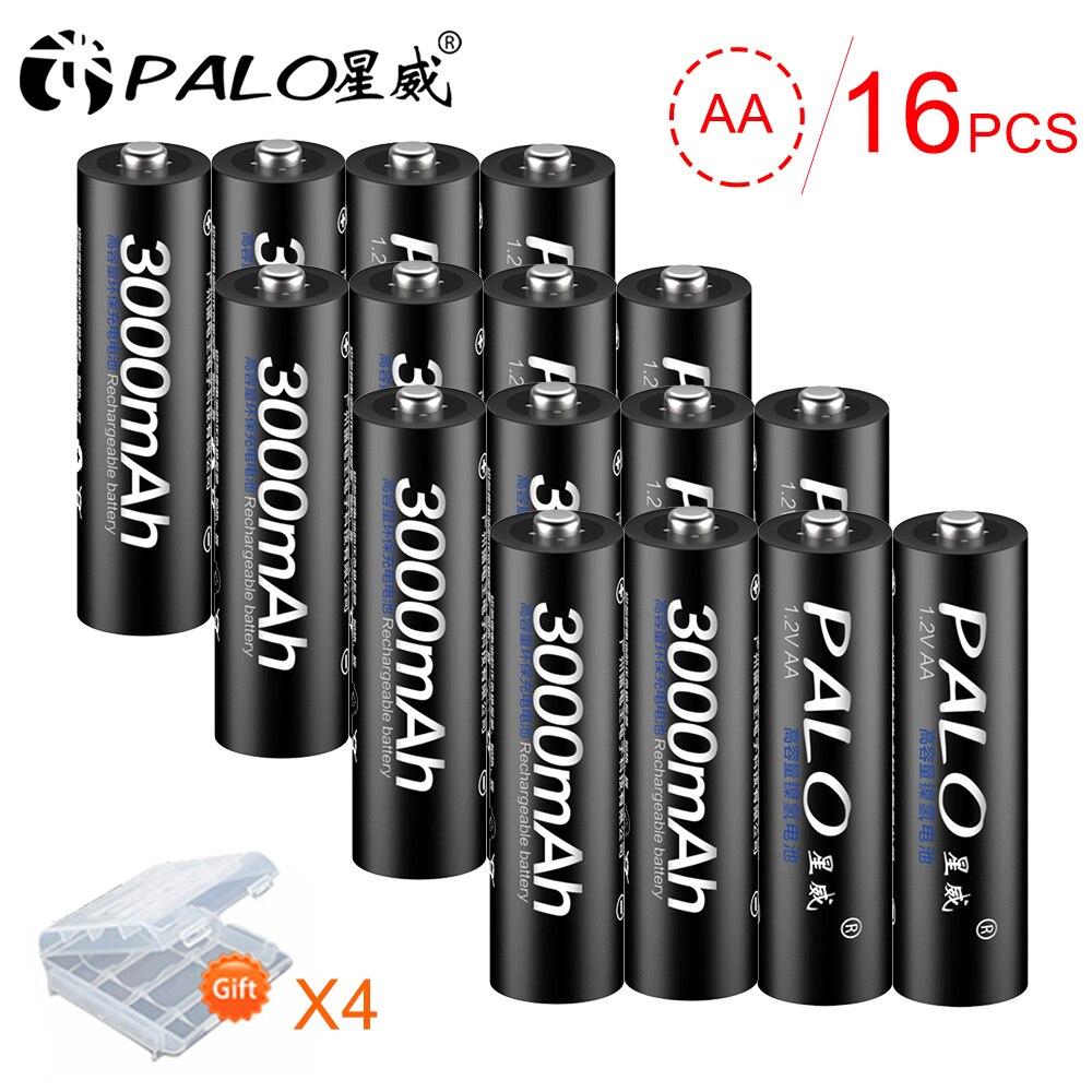 PALO 16 шт. 3000 мАч 1,2 в Ni-MH AA 2A аккумуляторные батареи для игрушечных камер с пультом дистанционного управления с 4 шт. батарейным чехлом