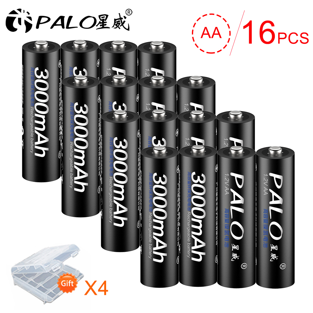 PALO 16Pcs 3000mAh 1.2V NI-MH AA 2A Rechargeable Battery Batteries for Remote Control Toy cameras With 4pcs Battery Case