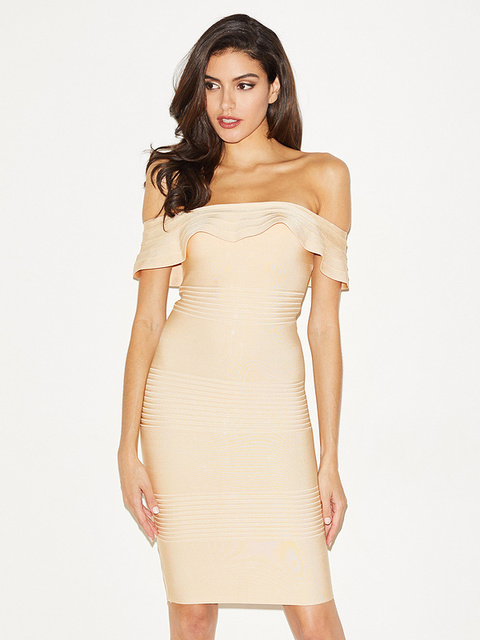 Beige and Red Color Ladies HL Bandage Dress Sexy Ruffles Slash Neck Mini  Dress Off the Shoulder Bodycon Dress 5be31753b3c0