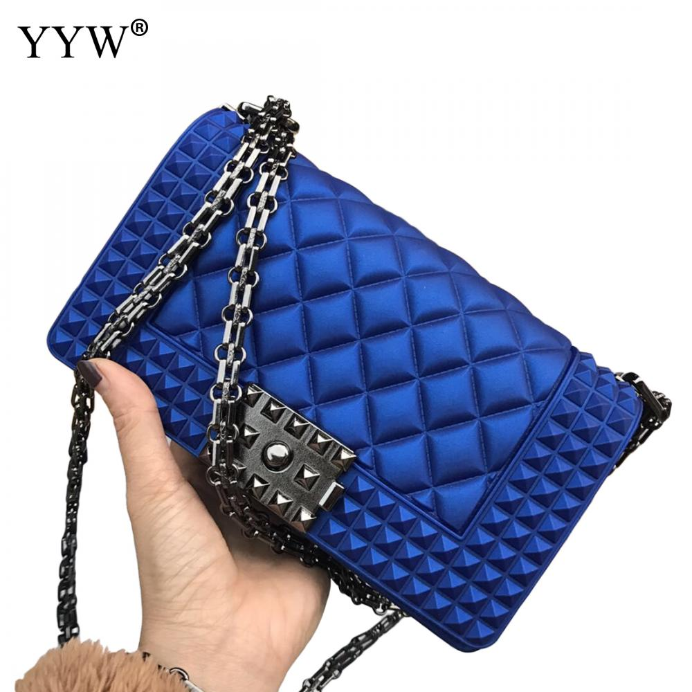 Black Women Rubber Bag Rivet Jelly Chain Crossbody Bag Bolsa Borracha Blue Handbag Dull Polish Argyle Rubber Clutch Bags 2019 in Top Handle Bags from Luggage Bags