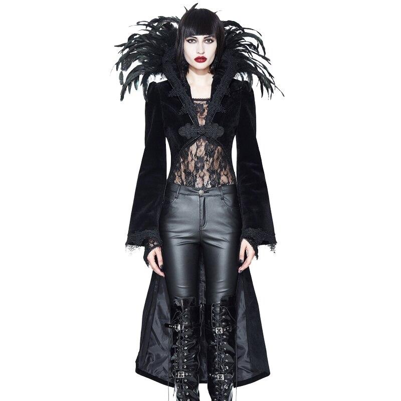 ЕВА леди 2018 Новый готический куртка Для женщин пикантные черные сапоги пальто Асимметричная Длина стенд перья куртки осень зима плотные па