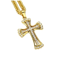 Hip Hop Mens Jewelry Cross Pendant Necklace Chain Large Crucifix Accessories