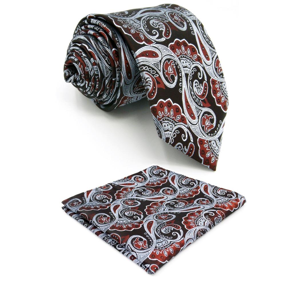 A26 Burgundy Silver Floral Mens Ties Necktie Set for male Handmade Silk Wedding Fashion Classic extra long size Hankies 63