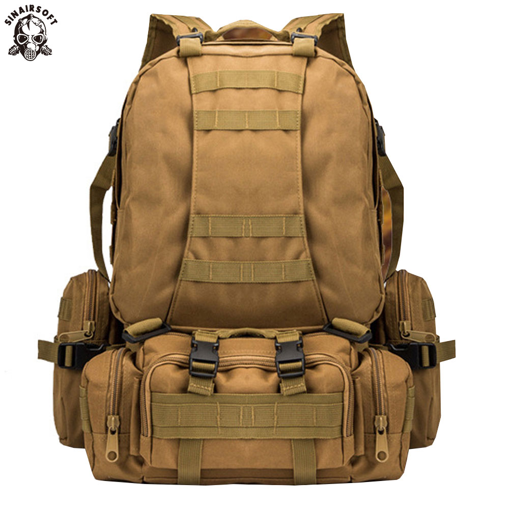 SINAIRSOFT 50L Molle Tactical Backpack Military Waterproof Army Rucksack Outdoor Sports Camping Hiking Fishing Hunting LY0017