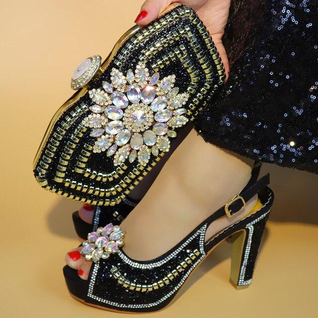 High quality black women pumps and bag set with big crystal for african shoes match handbag set for dress V1719-1