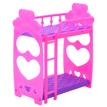 7pcs Mini Doll House Bed Pretended Girl Toys Cute Dolls House Furniture Plastic Bunk Bed Play House Toys for Children Girl Gift