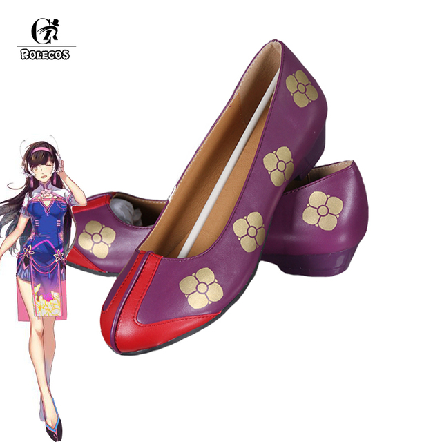 ROLECOS New Over Game Character D.VA Cosplay Costumes Shoes DVA Gradient Color Cheongsam PU Shoes Women Costumes Chinese Shoes