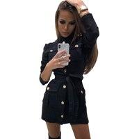 MVGIRLRU Women Black Dress long sleeve stand collar sashes dress Buttons design pockets straight Dresses