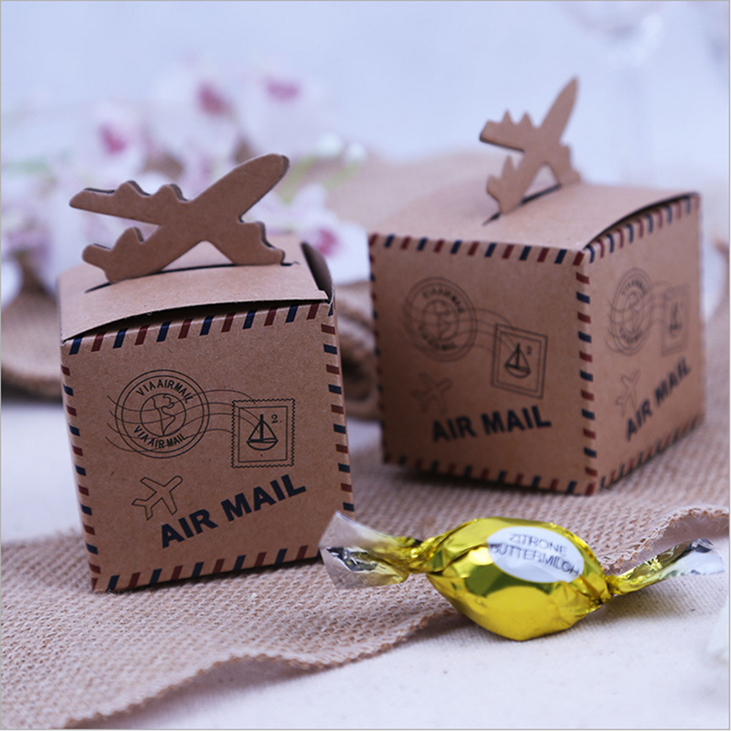 100 Pcs Retro Vintage Gift Boxes Wedding Favors Air Mail Plane Aircraft Airplane Style Kraft Paper Candy Boxes Party Supplies