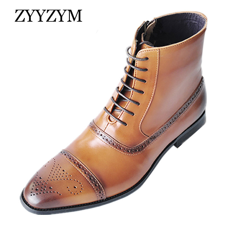 ZYYZYM Men Boots Leather Side Zipper Lace Up Men High Top Brogue Shoes Man Oxfords European Leather Boots Men Zapatos De Hombre