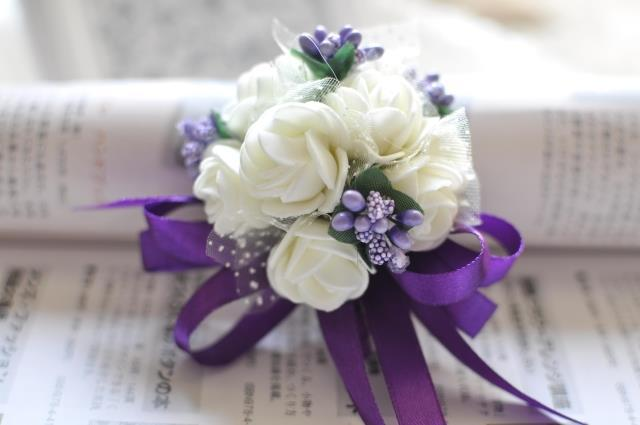 Amazing white roses with purple flowers gallery ball gown wedding 1pc elegant hand made white rose and purple ribbon wedding mightylinksfo