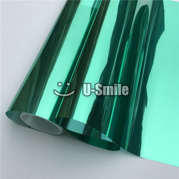 VLT 15% Green-Silver Mirror Window Film Foil For Glass Tint Buliding Home Office Size:1.52*30m/Roll