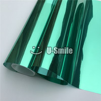 VLT 15 Green Silver Mirror Window Film Foil For Glass Tint Buliding Home Office Size 1