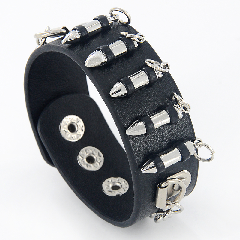 Punk Style Gothic Rock Three Row Metal Cone Stud Spikes Rivet Leather - Fashion Jewelry - Photo 2