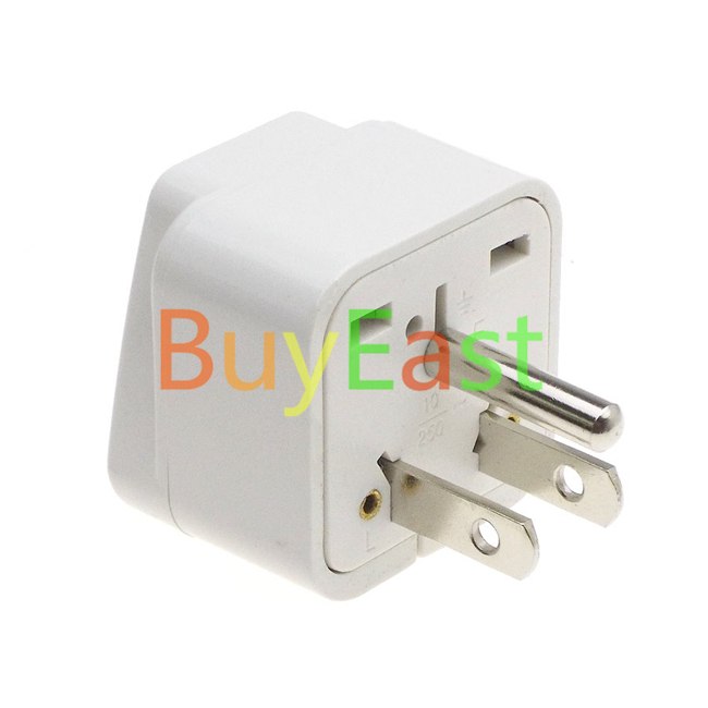 Pack 2 USA Grounded 3 Pin Travel Adapter convert World plug to US/Canada/Japan Plug computer case