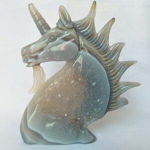 Image 5 - טבעי אבן אגת אשכול גילוף unicorn קריסטל גולגולת creative גילוף עיצוב הבית אצילי וטהור