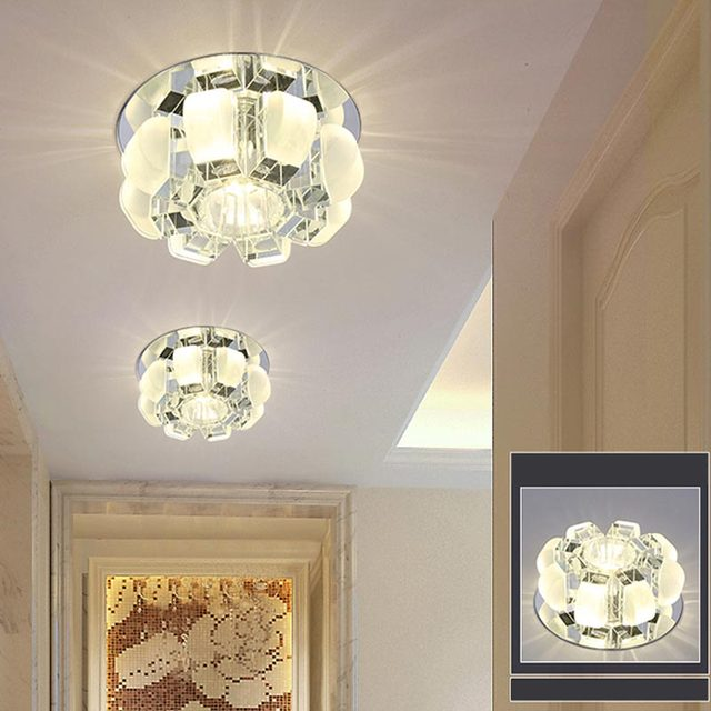 Modern 5W/3W Led Crystal Ceiling Light Fixtures Living Room Stair Aisle Lamp  Yellow/ Part 79