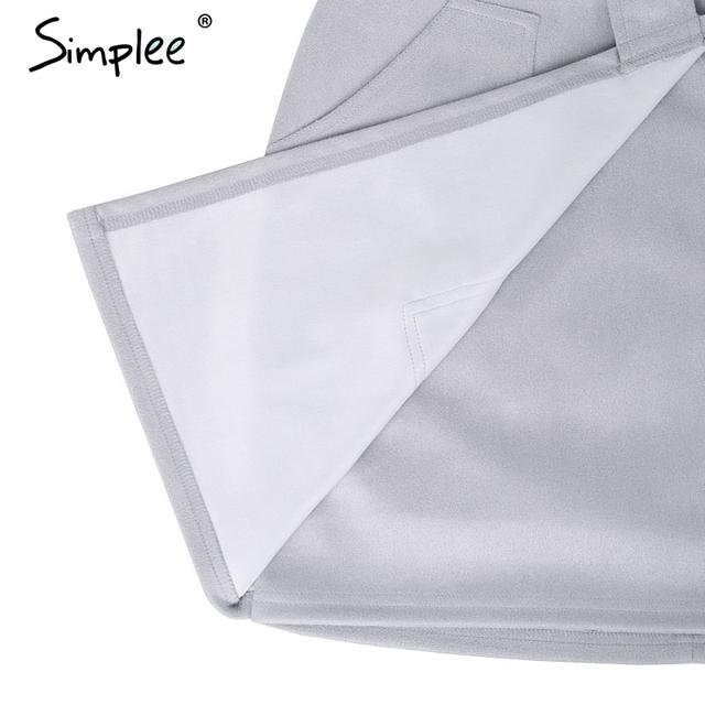 Simplee suede leather pencil skirt High waist lining skirt womens Zipper bodycon sexy short mini asymmetrical skirt summer
