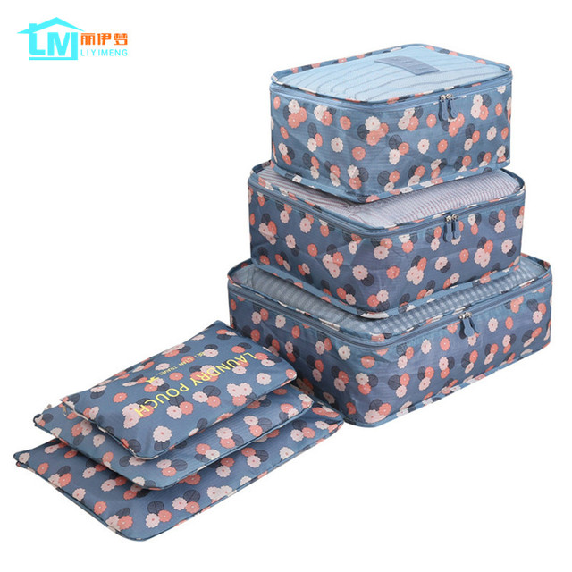 LIYIMENG 6Pcs/Set Travel Storage Bag Home Organizer Box For Clothes Tidy  Pouch Suitcase Clothing