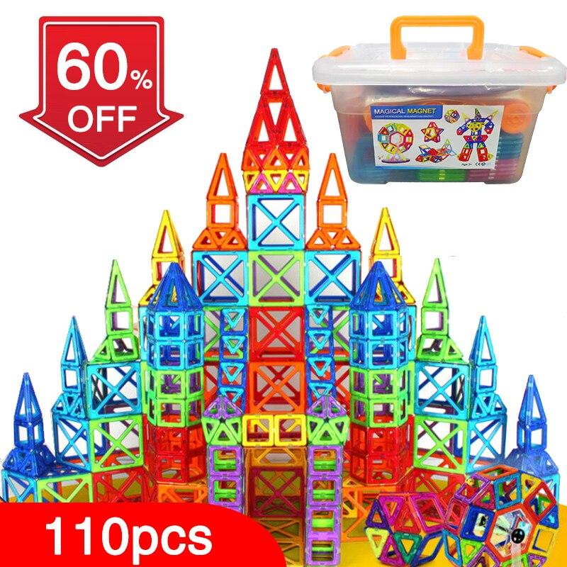 110 pièces blocs magnétiques concepteur magnétique Construction jouets ensemble aimant jouets éducatifs pour enfants enfants cadeau