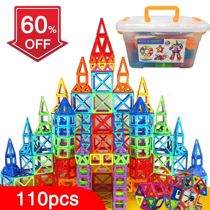 110pcs Magnetic Blocks Magnetic Designer Building Construction Toys Set Magnet Educational Toys For Children Kids Gift