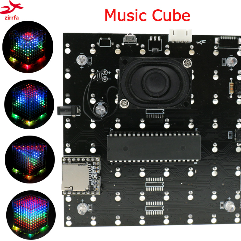 led electronic diy kit 3D 8 mini multicolor 8x8x8 mp3 music light cubeeds kit built-in music spectrum ask11 sector pointer level indicator vu table led music spectrum electronic diy kit