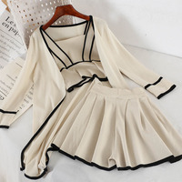 2019 new fashion women's two piece set Spring and summer long knit cardigan suspenders+ vest +skirt three piece suit tide 3395