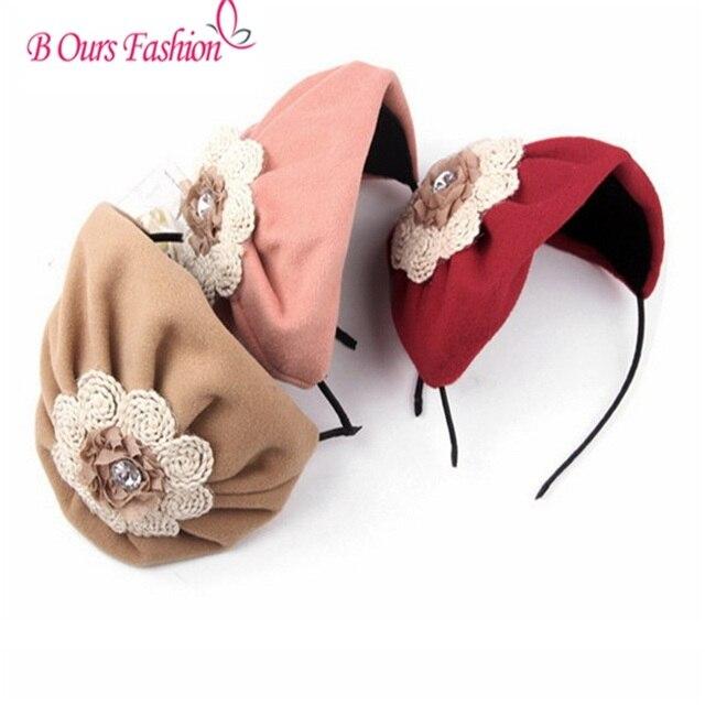 Winter style woll velvet flower hat style women children hairband party hair accessories girls headband