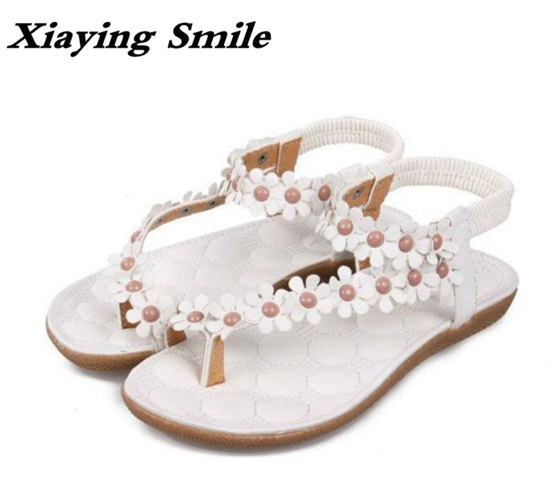 Xiaying Smile New Summer Woman Sandals Casual Fashion Beach Bohemian Style Women Flats Sweet Flowers Slip On Rubber Women Shoes xiaying smile summer new woman sandals platform women pumps buckle strap high square heel fashion casual flock lady women shoes