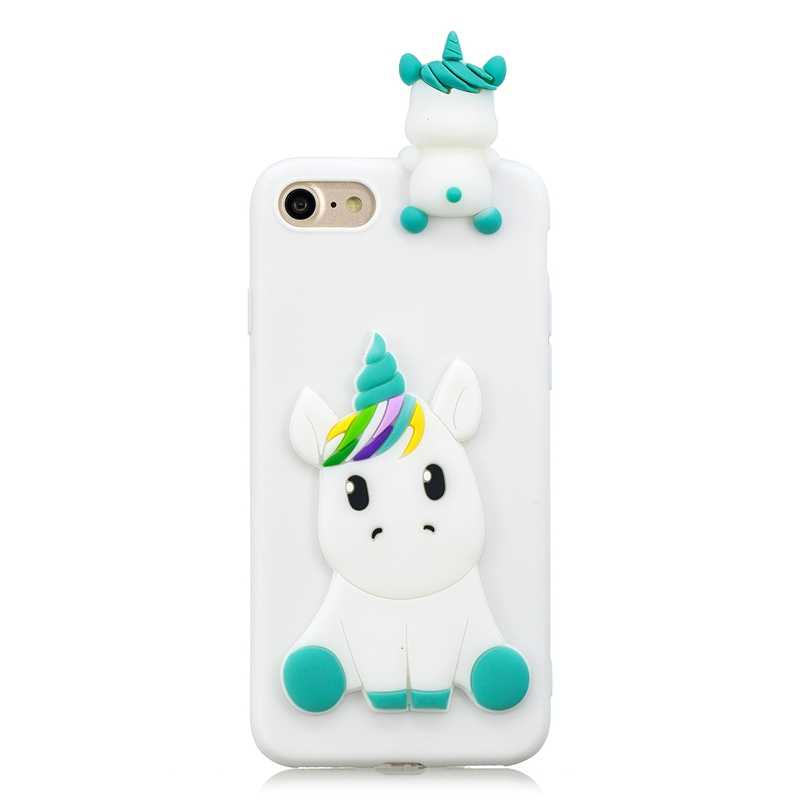 Case on for iPhone 5 5s se iPhone 7 Covers 3D Unicorn Silicon Case for Coque iPhone X 6 6S 8 Plus Phone Case Capinha Funda Women