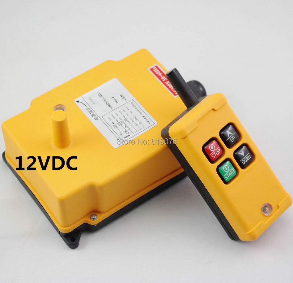 HS-4 12V Single Speed 1 Transmitter+1 Receiver Hoist Industrial Wireless Remote Control Switch hs 10s crane industrial remote control switch hs 10s wireless transmitter switch