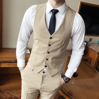CIGNA 2018 New Pure Color Mens Waistcoat Black Gray Khaki Navy Blue Business Wedding Men Vests Size S 3XL