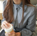 Free Shipping Korean Hot Sale Retro Bowknot Stand Collar Long Sleeve Stripe Woman Cotton Blouse Blue