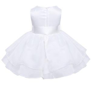 Image 3 - フラワーガールのドレス幼児赤ちゃんのプリンセスチュチュドレス真珠ネックノースリーブページェントウエディングパーティードレスコットンベビーガールサマードレス