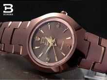Люксовый Бренд Швейцария Бингер вольфрама стали часы женщины кварцевые часы пиво баррель полный стали wristwatche BG-0394-10