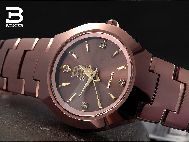 ФОТО Luxury Brand Switzerland Binger tungsten steel watches women quartz watch beer barrel full steel wristwatche BG-0394-10