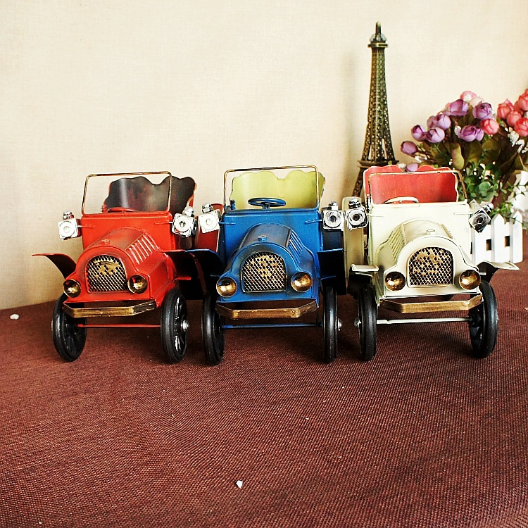 Hot sale retro iron bubble car model ornaments vintage for Automobile decoration accessories