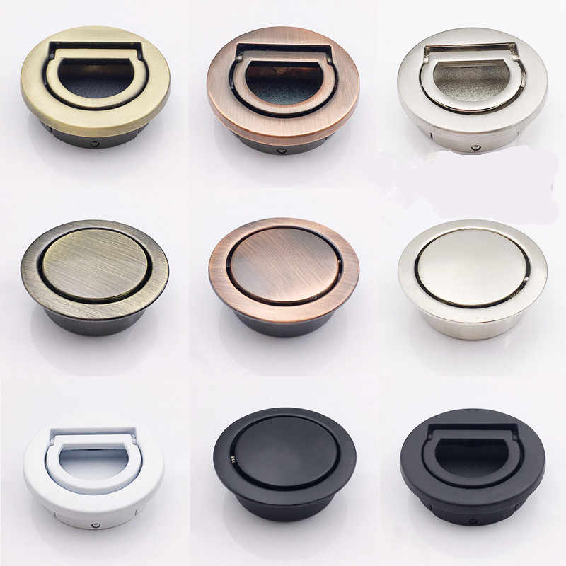 Tatami Hidden Drawer Handle Round Dresser Knob Stealth Spring Cabinet Handle Kitchen Cupboard Press Bounce Up Knobs
