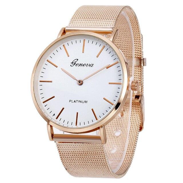 ae49c6592ea Nova Marca Famosa Rosy Ouro Casual Quartz Watch Mulheres Vestido Relógios  Relogio feminino Relógio de Pulso de Aço Inoxidável de Malha de Metal Quente