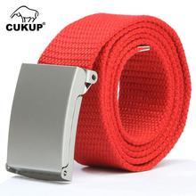 CUKUP Fashion Unisex Designer Automatic Buckle Metal Quality Canvas Belt Jeans Accessories for Men Many Colours Optional CBCK018